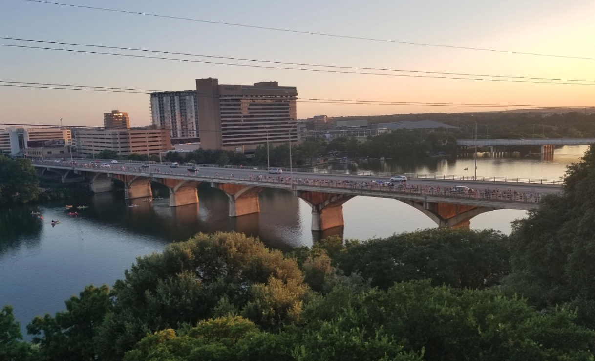 Congress Avenue Bridge from P6 rooftop of The LINE Hotel Austin